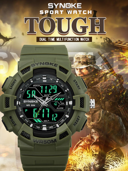 Men SYNOKE Camping Military Wristwatch  Waterproof Sports Wristwatches Mens LED Digital Wristwatch Top Brand Luxury Diving