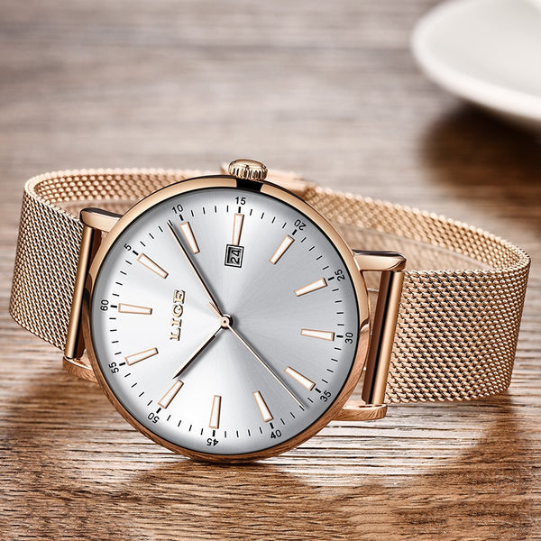 LIGE Top Brand Luxury Ladies Wristwatch Dating Business Quartz Hand Casual Fashion Waterproof Wristwatch Ladies