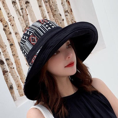 Double sided irregular Pattern Bucket Hat Women Summer Cotton Breathable Leisure Bob Caps Outdoor Sports Casual Dome Panama Cap