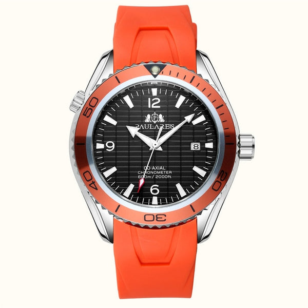 PAULAREIS P Automatic Self Wind Mechanical Stainless Steel Strap Simple Orange Blue Bezel James Bond 007 Style Date Business Men Wristwatch