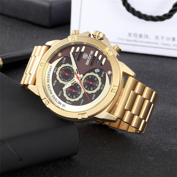 Skone Golden Wristwatches Men Top Brand Luxury Waterproof Business Wristwatch Male Calendar Quartz Clock Man Wristwatch relogio masculino