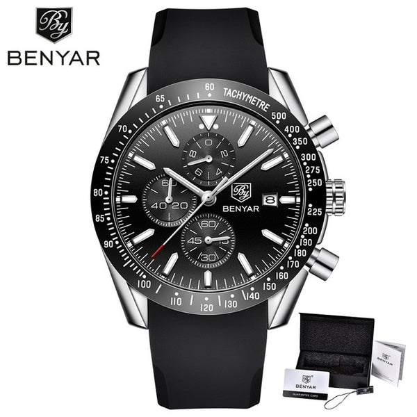 BENYAR Men Watches Brand Luxury Silicone&Steel Band Wristwatches Man Leather Chronograph Quartz Military Watch Relogio Masculino