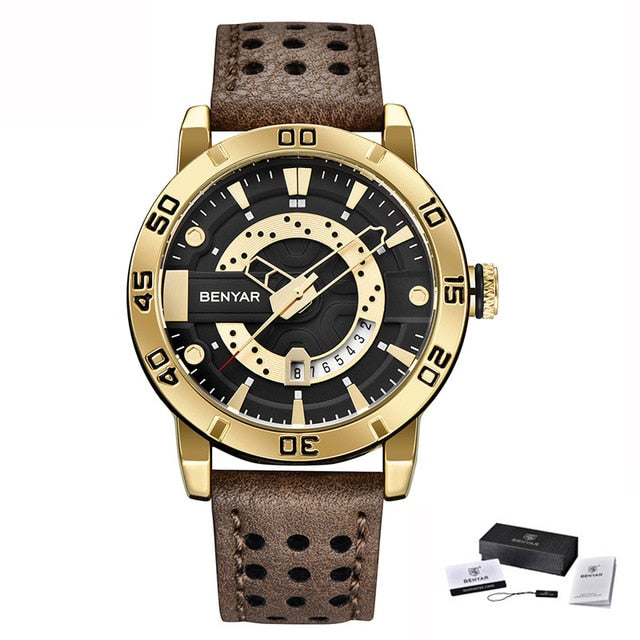 Benyar Wristwatches Men Luxury Brand Quartz Mens Wist watches Military Leather Strap Casual Square Wristwatch Waterproof Reloj de hombre