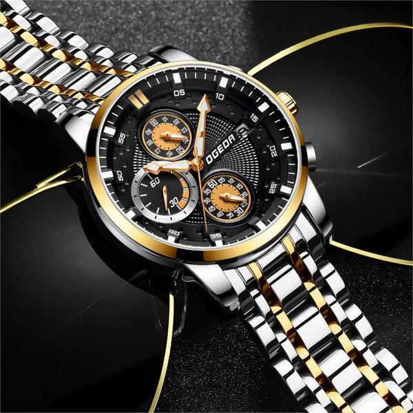 OGEDA Men Wristwatch Chronograph Sport Mens Wristwatches Top Brand Luxury Waterproof Full Steel Business Quartz Wristwatch