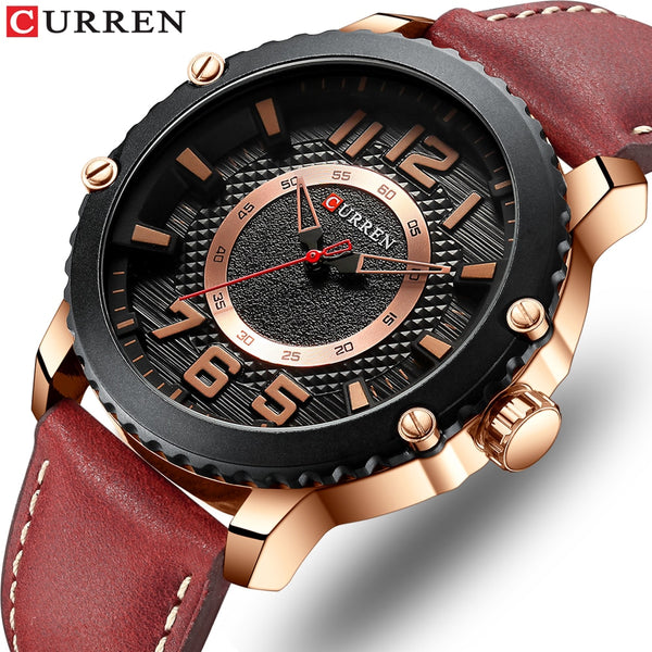 CURREN Style Wristwatches New Casual Sport Quartz Male Army Military Leather Wristwatch Men's Colorful Fashion Man Design Wristwatch