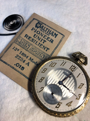 Waltham 12 size Pocket Watch with correct mainspring
