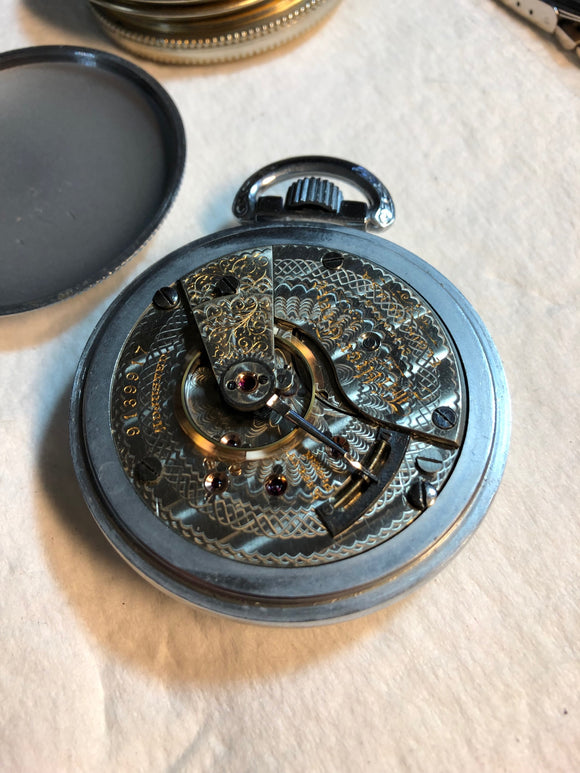 Elgin 21 Jewel 18 Size Father Time Pocket Watch.