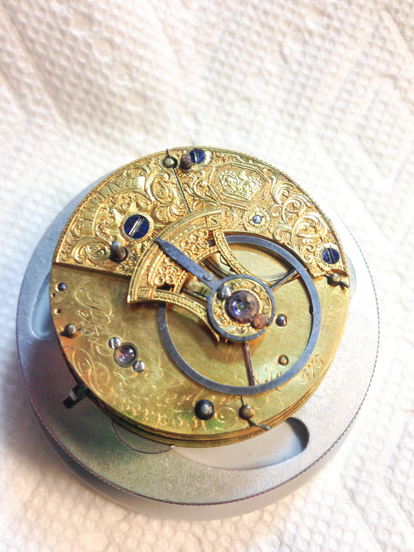 Rare Peter Litherland Fusee Pocket Watch Movement.
