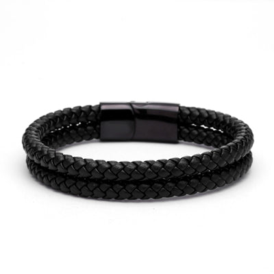 MEN'S - BLACK - GENUINE DOUBLE BRAIDED LEATHER BRACELET