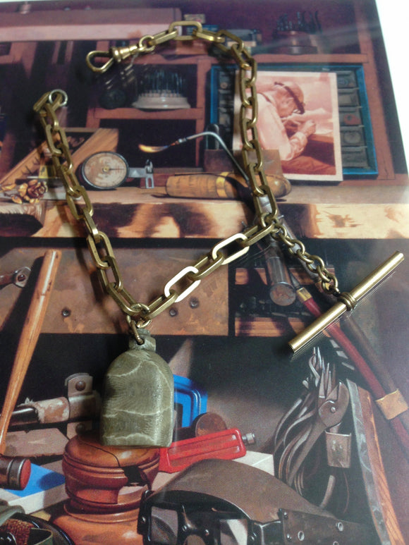 Antique Pocket Watch Chain With Carved Stone Canteen Fob