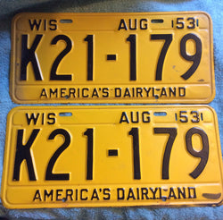 Wisconsin 1953 License Plate Set