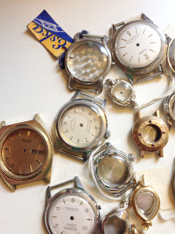 ASSORTMENT OF MEN'S LADIES WRIST WATCH CASES AND DIALS