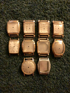 ASSORTMENT OF TEN GENTS GOLD FILLED VINTAGE WRIST WATCH CASES WITH DIALS