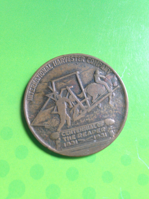 International Harvester Tractor Coin Dated 1931