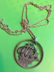 Coin Necklace Dated 1959 With Ship Cut Out