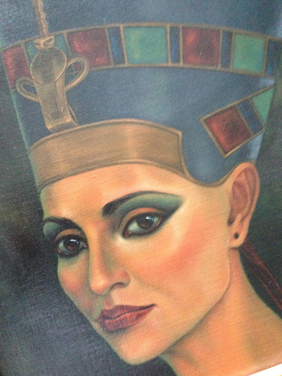 Original Oil On Canvas Of Queen Nefertiti By Artist Cheryl Yambrach Rose