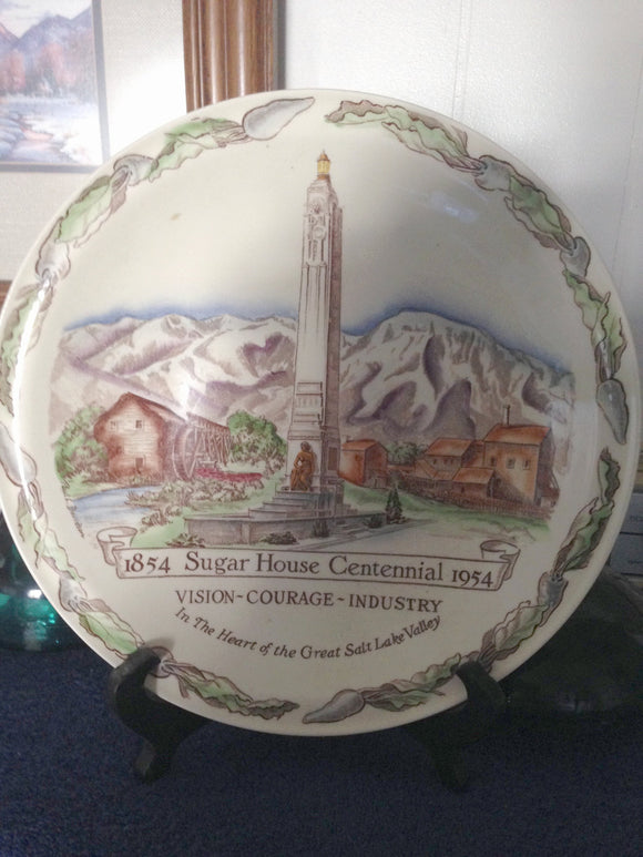 SUGAR HOUSE UTAH CENTENNIAL PLATE FROM 1954