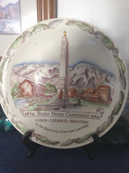 Beautiful Sugar House Utah Centennial Plate From 1954