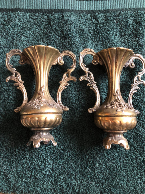 BEAUTIFUL PAIR OF BRASS VASES MADE IN ITALY