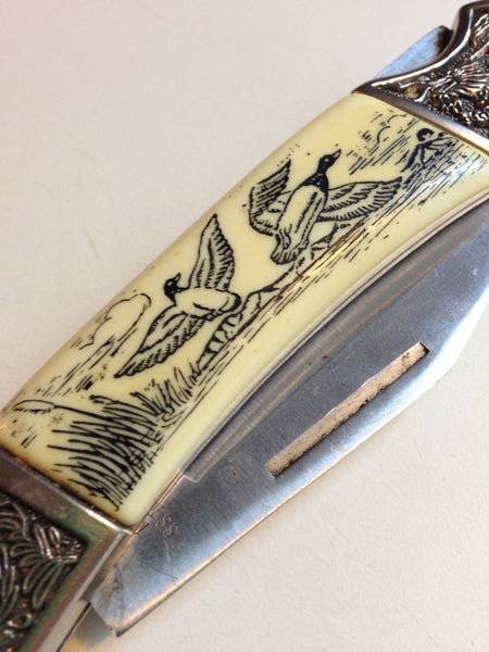 Chinese Dragon Knife With Scrimshaw Handles