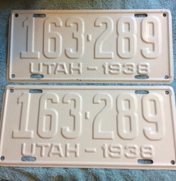 Pair of Unfinished Utah 1938 License Plates.