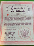Hamilton Watch Factory Guarantee Certificate