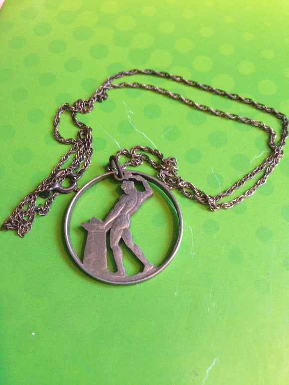 Old Coin Cut Out Necklace With Chain
