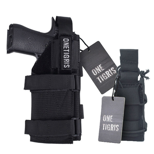 ONETIGRIS MOLLE TACTICAL MODULAR BELT PISTOL HOLSTER AND SINGLE PISTOL MAGAZINE POUCH
