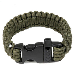 Army green paracord bracelet with whistle.