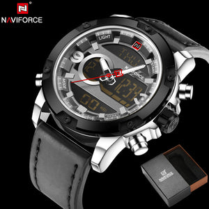 NAVIFORCE 9097 - MEN'S SPORTS MILITARY LEATHER DUAL DISPLAY DIGITAL WATCH