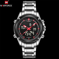NAVIFORCE 9050-S2 - MEN'S SPORTS MILITARY STAINLESS STEEL DUAL DISPLAY DIGITAL WATCH