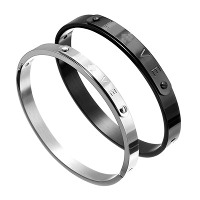 Couple Love Bangles Charm Bar Bracelets Set