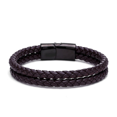 MEN'S - BROWN - GENUINE DOUBLE BRAIDED LEATHER BRACELET