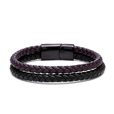 MEN'S - BLACK & BROWN - GENUINE DOUBLE BRAIDED LEATHER BRACELET
