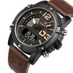 NAVIFORCE 9095 - MEN'S SPORTS MILITARY LEATHER DUAL DISPLAY DIGITAL WATCH