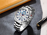 CURREN 8075 - MEN'S CASUAL SPORTS STAINLESS STEEL QUARTZ ANALOG WRISTWATCH