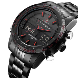 NAVIFORCE 9024 - MEN'S SPORTS MILITARY STAINLESS STEEL DUAL DISPLAY DIGITAL WATCH