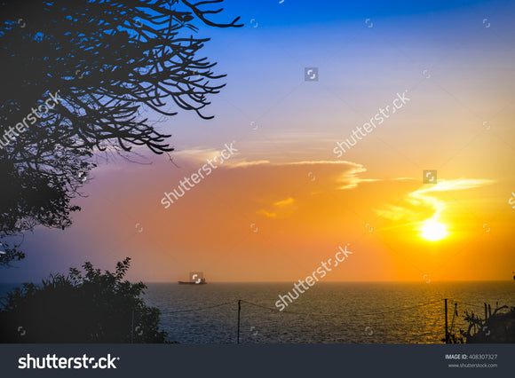 Bright and beautiful sunset sky over the sea.