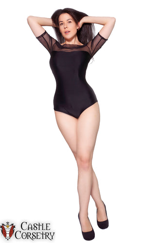 Sheer Top Cap Sleeved Bodysuit