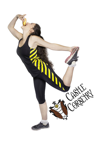 Yellow #BasicWitchWear Workout Capri Pants