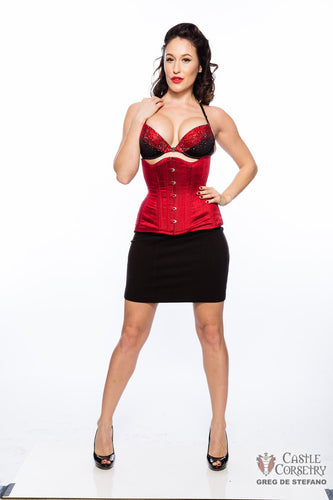 Red Silk Long Line Waist-Training Corset