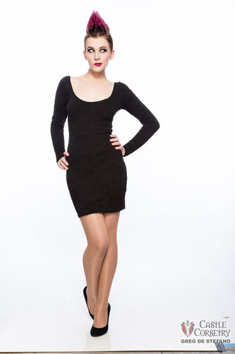 Black Long Sleeved Mini Dress
