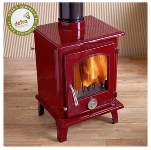 5kw Red Enamel Petit Contemporary Wood burning, Log Burner, Multi Fuel Stove