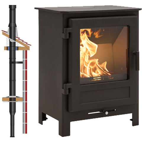 DESIGN AND CONSTRUCTION The British-designed Helvellyn stove by Mi-Fires is a clean burn, multi-fuel stove predominately designed for ease-of use, maximum efficiency and stunning flame displays. It boasts a large viewing panel, white-burn schamotte fire bricks to emphasise the flames and is designed to fit into most fireplaces. It has a steel body with cast iron door and grate.    FEATURES   VARIABLE AIR FLOW SYSTEM.  This allows you to easliy adjust the combustion of your stove with one simple controller. Move to the left for startup Move to the right if you are burning just wood. Move to the left for coal and solid fuel. Centre position for off.   INTEGRATED AIR JACKET Designed with an integrated air jacket and large air tank means that large volumes of cold air which can be taken directly from outside is instantly warmed. This is sent around the inner wall and gives a curtain of protective warn air over the glass, keeping it perfectly clear.    DEFRA APPROVED All Mi-Fires are DEFRA Approved and are therefore are usable in smoke exempt areas.    OUTSIDE AIR A kit is available that allows you to the combustion air directly from outside, perfect for passiv houses.    EASY INSTALLATION All Mi-Fires stoves come with an installer friendly flue pipe outlet allowing you to flue the stove from the top or rear. Also the integrated feet can be screw adjusted to make sure the stove is always level, no matter how uneven the floor is.    Item Helvellyn - TWPro BLK Inside Pack - 125mm  Nominal Output 4.5kW  OutletTop/Rear  Flue Size5 inch (125mm)  Efficiency75.5%  Weight: Nett, Gross86.2Kg, 104.2Kg  Multi-FuelYes  Warranty5 years  DimensionsHeight: 625mm Width:490mm Depth: 401mm  DEFRAYes  ConstructionSteel Body, Cast Iron Door 2
