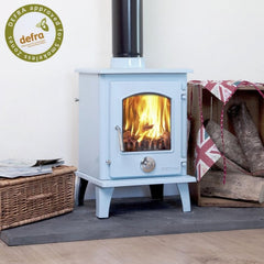5kw Duck Egg Blue Enamel Petit Contemporary Wood burning, Log Burner, Multi Fuel Stove