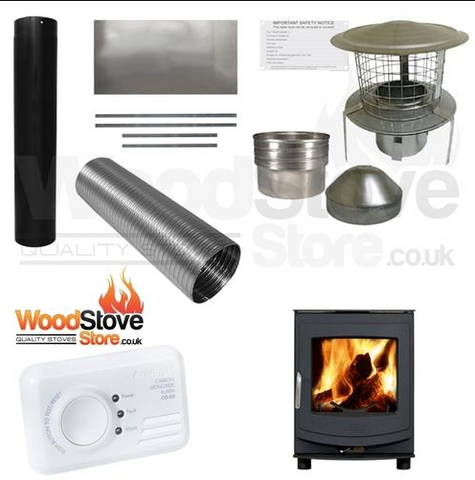 COMPLETE DEFRA AGA ELLESMERE 4 - 4.5KW WOOD BURNING STOVE, MULTI FUEL STOVE INSTALLATION KIT