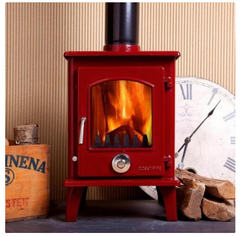5kw Red Enamel Petit Contemporary Wood burning, Log Burner, Multi Fuel Stove Regular price