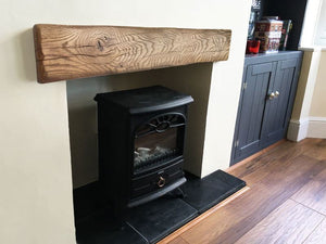 Aged Oak Fascia Beams Fireplace Mantel