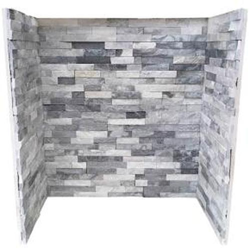 White & Grey Split Face Tiled Fireplace Chamber