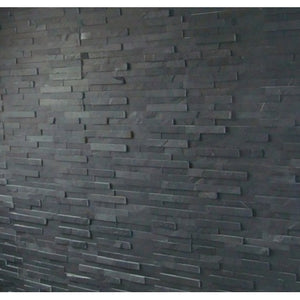 Slate Split Face Tiled Fireplace Chamber